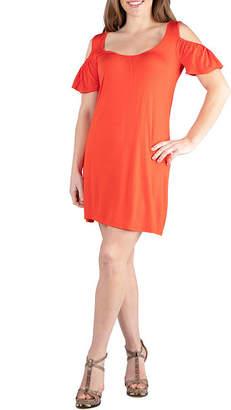 24/7 Comfort Apparel 24/7 Comfort Dresses Loose Cold Shoulder Mini Dress