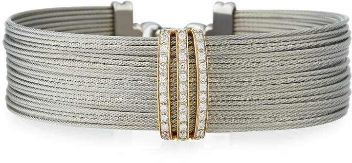 Alor Multi-Row Stacked Bangle w/ Diamonds