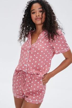 Forever 21 Polka Dot Shirt Shorts Pajama Set