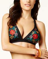 Jessica Simpson Cha Cha Embroidered Triangle Bikini Top