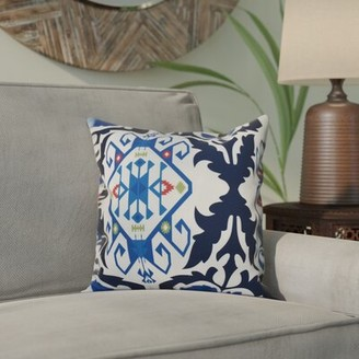 """Bungalow Rose Groth Medallion Print Square Pillow Cover & Insert Size: 16"""" H x 16"""" W, Color: Navy Blue"""