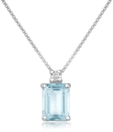Tagliamonte Incanto Royale Diamond and Aquamarine 18K Gold Pendant Necklace