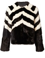 Matthew Williamson Black White Mink Fur Jacket