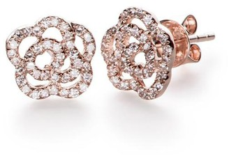 Ef Collection Diamond Rose Stud Earring in Rose Gold