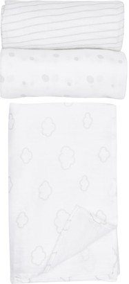 Little Me Clouds Swaddle Blankets - Pack of 3