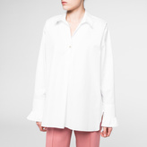 Paul Smith Women's White Cotton Henley Shirt With Frill Cuffs