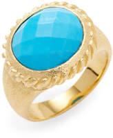 Rivka Friedman Women's 18K Gold Clad Twisted Bezel Oval Magnesite Satin Ring