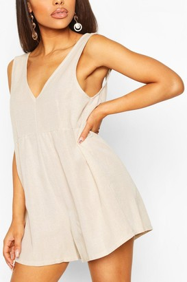 boohoo Petite V Neck Linen Look Playsuit