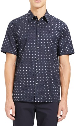 Theory Irving Rhombus Slim Fit Short Sleeve Button-Up Shirt