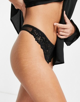 Topshop leaf lace thong in black