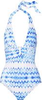 Heidi Klein Ventura Printed Halterneck Swimsuit - Azure