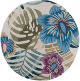 Asstd National Brand Floral Palm Tree Round Area Rug