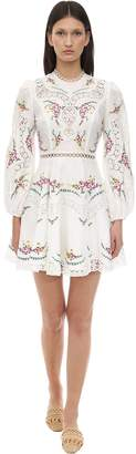 Zimmermann Printed Linen & Cotton Lace Mini Dress