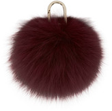 Yves Salomon Red Fur Pom Pom Keychain