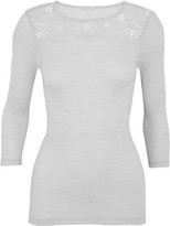 Hanro Seraphina Leavers Lace-paneled Ribbed Wool And Silk-blend Jersey Top - Light gray