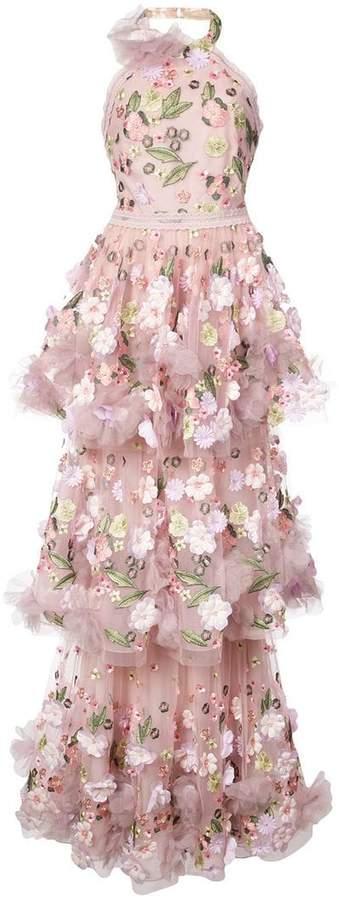 Marchesa floral-appliquéd tiered ruffled gown