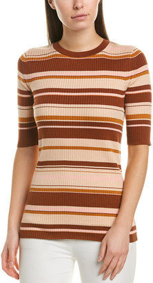 Lafayette 148 New York Striped Rib Silk-Blend Sweater