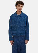 Story Mfg. Men's Beau Canvas Rain Ikat Jacket In Indigo