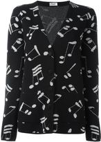 Saint Laurent music note printed cardigan - women - Acrylic/Polyamide/Polyester/Wool - XS