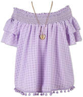 Speechless Ruffle Sleeve Gingham Top - Girls' 7-16
