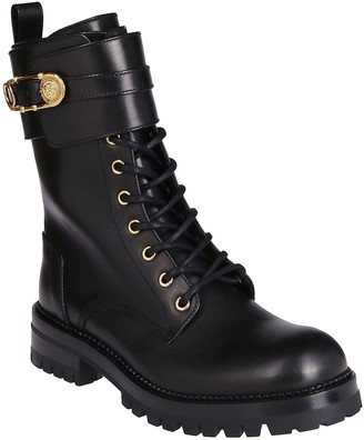 Versace Black Leather Military Boots