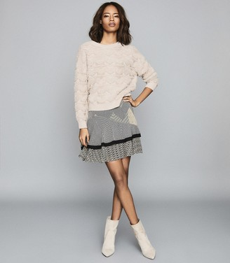 Reiss Ottilie - Textured Patterned Jumper in Pink