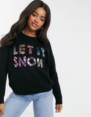 ASOS DESIGN Charity Christmas jumper sequin let it snow for ASOS Foundation