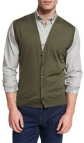 Ermenegildo Zegna High Performance Merino Wool Cardigan Vest, Green