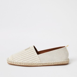 River Island Maison stone stripe espadrille shoes