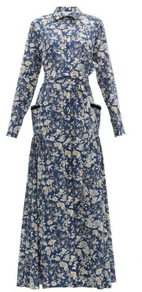 Evi Grintela Olivia High-neck Floral-print Cotton Dress - Womens - Blue Print