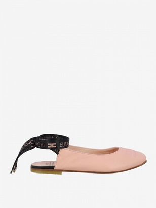 Elisabetta Franchi Sandal In Leather With Logoed Laces