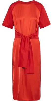 Nina Ricci Tie-front Satin And Cotton-jersey Midi Dress