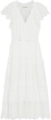 Ulla Johnson Gianna Tasseled Broderie Anglaise Cotton-blend Midi Dress
