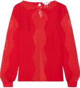 Oscar de la Renta Lace-paneled Silk-chiffon Blouse - Red