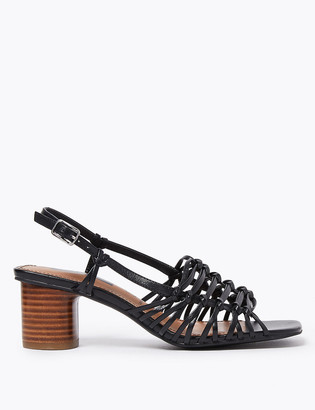 Marks and Spencer Leather Block Heel Open Toe Sandals