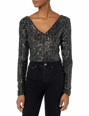 GUESS Women's Long Sleeve Star Sequin Crop Top