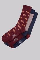 Moss Bros Wine & Navy 3 Pack Fox Pattern Socks