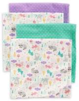 Carter's 4-Pack Animal Dot Receiving Blankets in Teal/Purple