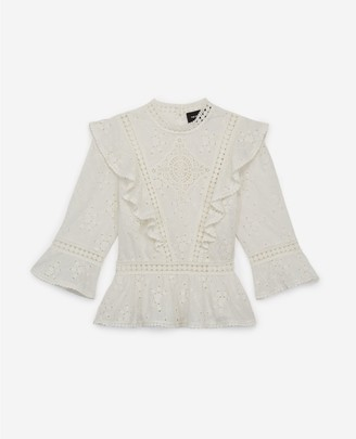 The Kooples Ecru lace top with crew neck and frills