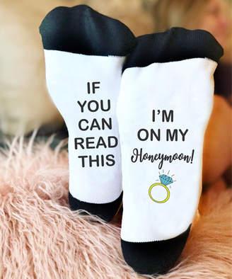 Stamp Out Online Socks - White & Black 'I'm on My Honeymoon' Ring Socks - Adult