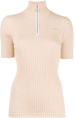 Courreges Half-Zip Ribbed Top