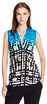 Calvin Klein Women's Printed Blouse W/ Inverted Pleat