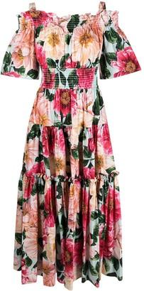 Dolce & Gabbana Floral-Print Tiered-Design Dress