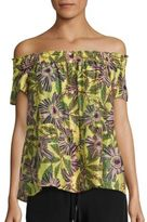 RED Valentino Floral-Print Off-The-Shoulder Blouse