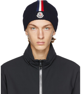 Moncler Navy Wool Beanie
