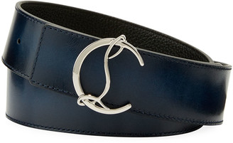 Christian Louboutin Men's Reversible CL Logo Leather Belt