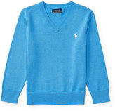 Ralph Lauren Cotton V-Neck Pullover Sweater, Blue, Size 2-4