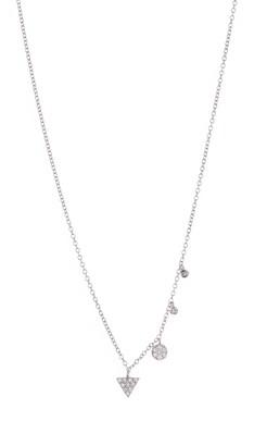 Meira T 14K White Gold Geo Pave Diamond Fringe Necklace