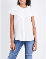 Sandro Frilled-trim silk shirt