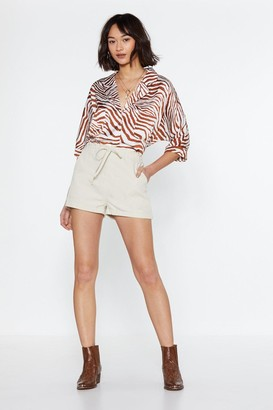 Nasty Gal Womens Drawstring the Line Shorts - Ecru